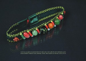 Ras de cou perles diagonales vert et orange