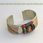 bracelet manchette pêche et kaki