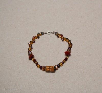 bracelet jaune et grenat